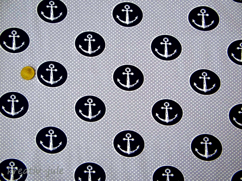 Jersey grau Sterne weiß Anker blau - 1