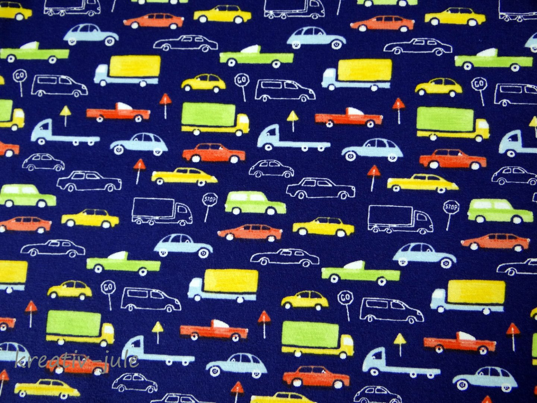 Baumwolljersey blau Fahrzeuge Autostoff Autos - 1