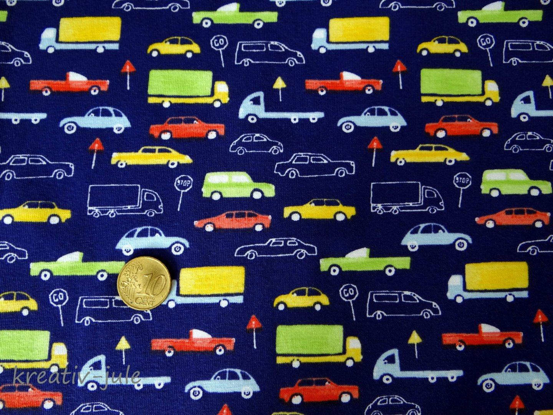 Baumwolljersey blau Fahrzeuge Autostoff Autos - 2
