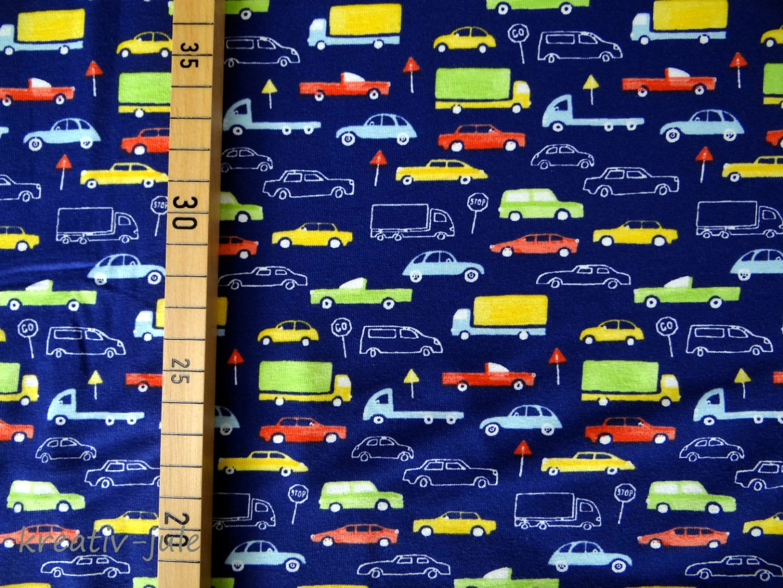 Baumwolljersey blau Fahrzeuge Autostoff Autos 3