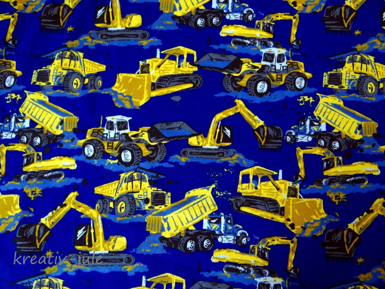 Jersey blau Baufahrzeuge Bagger Laster Kran Walze Radlader - 1