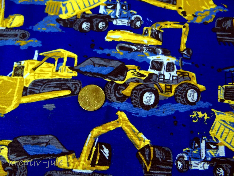 Jersey blau Baufahrzeuge Bagger Laster Kran Walze Radlader - 2