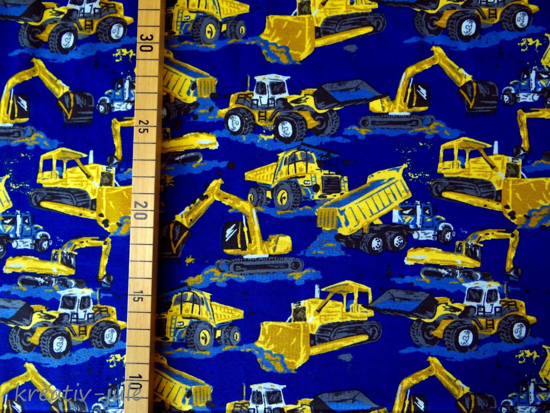 Jersey blau Baufahrzeuge Bagger Laster Kran