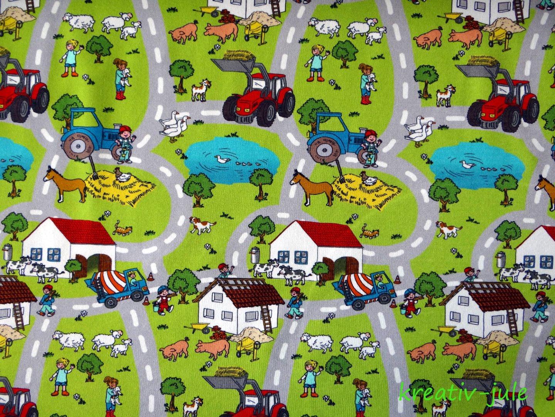 Jersey Trecker Traktor Straßen Bauernhof grün bunt Wimmelbuch - 1