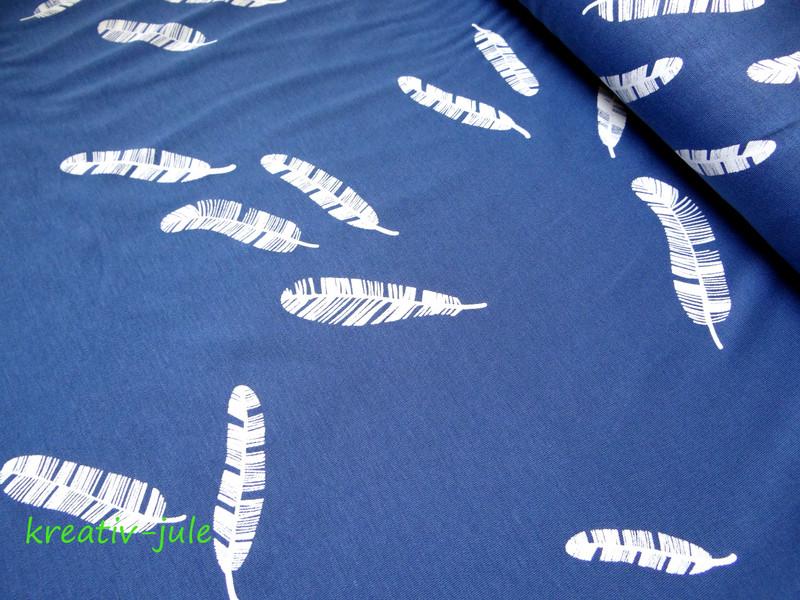 Baumwolljersey Kenny Federn jeansblau blau - 1