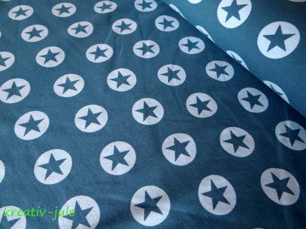 French Terrsy Sommersweat Sterne blau rauchblau