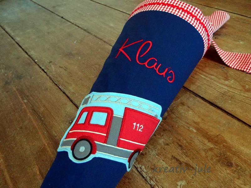Feuerwehr Schultüte Zuckertüte blau rot Junge
