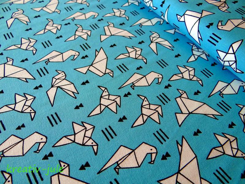 Jersey Origami Vögel Tangram türkis - 1