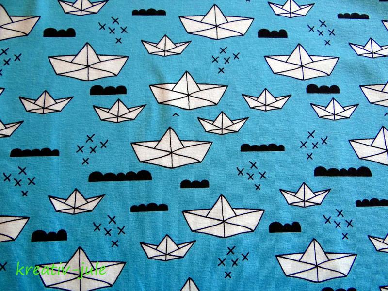 Jersey Boote Origami Papierschiffe hellblau aqua
