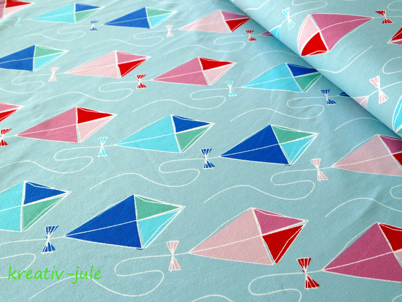 Jersey Drachenflug von Blaubeerstern hellblau pink - 1