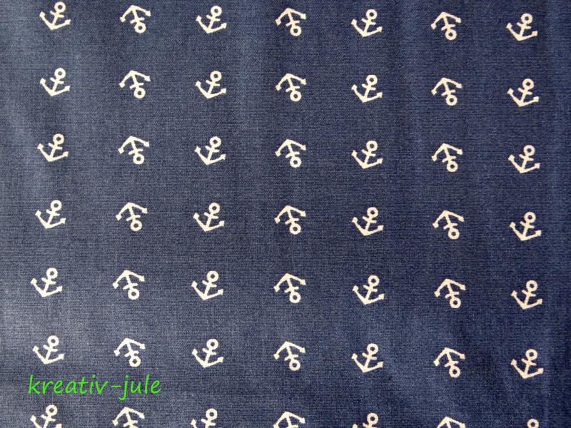 Baumwolle Anker klein jeansblau blau weiß