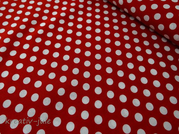 Baumwolle Punkte Tupfen rot weiss