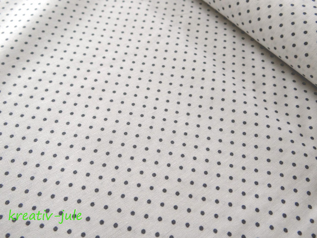 Baumwolle Punkte weiß grau