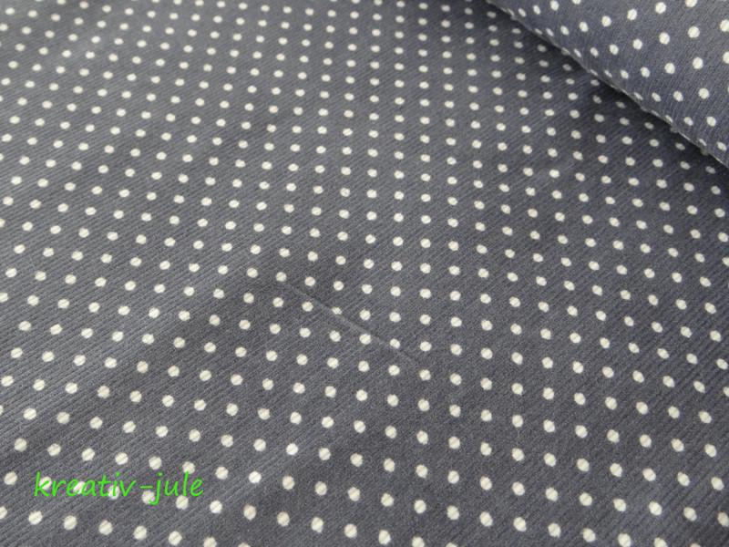 Feincord Babycord grau weiß Punkte