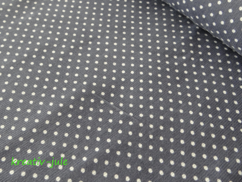 Feincord Babycord grau weiß Punkte - 1