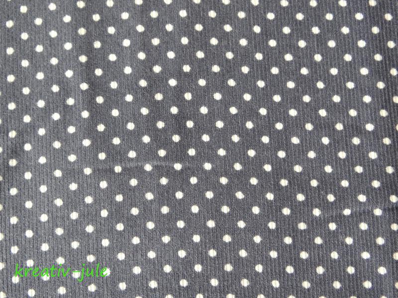 Feincord Babycord grau weiß Punkte 2