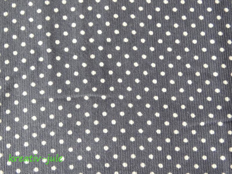 Feincord Babycord grau weiß Punkte - 2