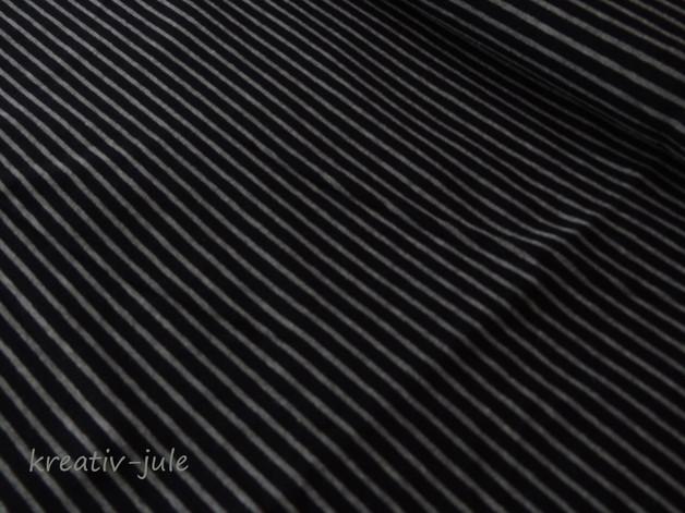 Streifenjersey schwarz grau meliert Ringeljersey - 1