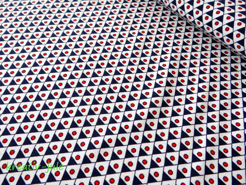 Jersey Dreieck Punkte blau rot maritim - 1