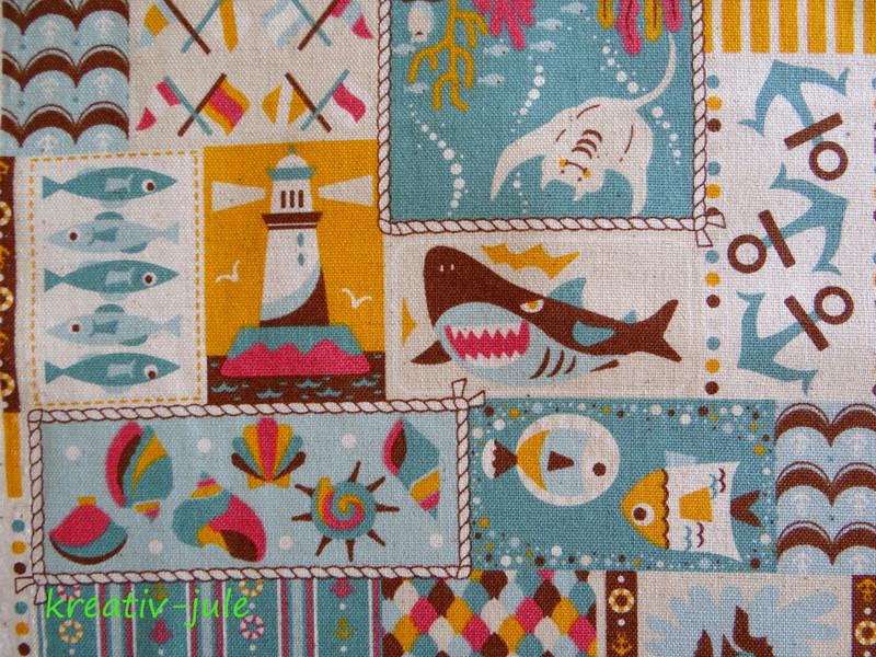 Kokka Linen Look maritim Fische türkis