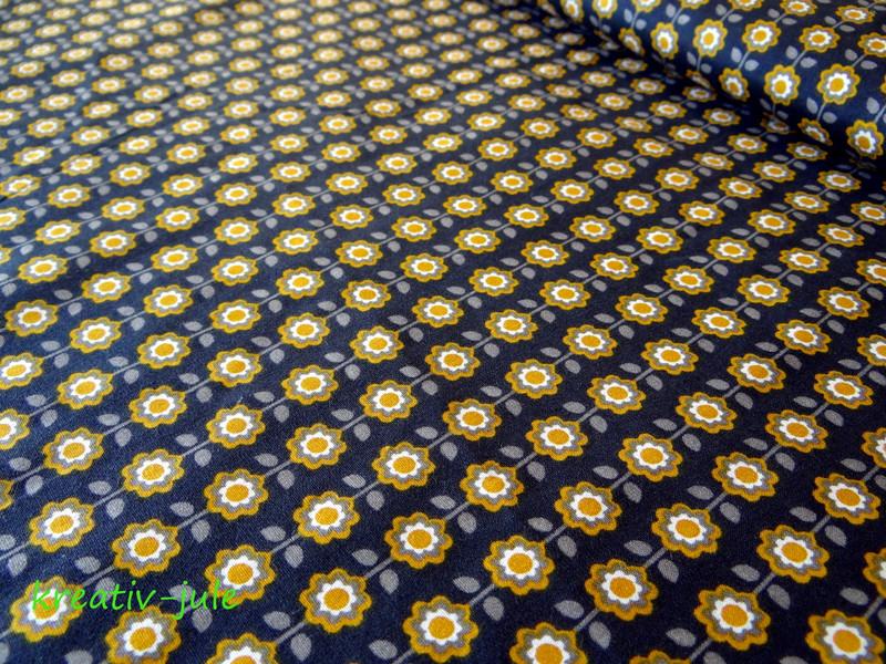 Baumwolle Blumen schwarz senf - 1