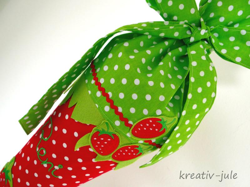 Schultüte Erdbeere Zuckertüte grün rot weiß