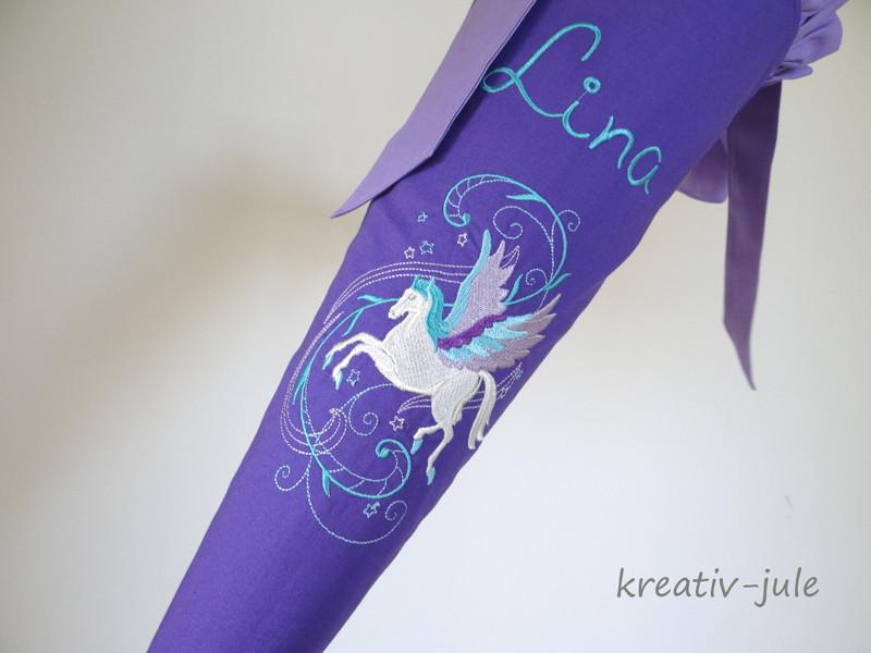 Schultüte Pegasus flieder weiß 3