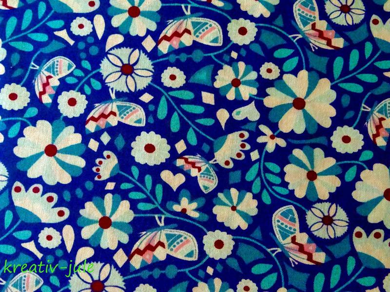 Baumwolle Blumen Butter Bloom by Jolijou blau
