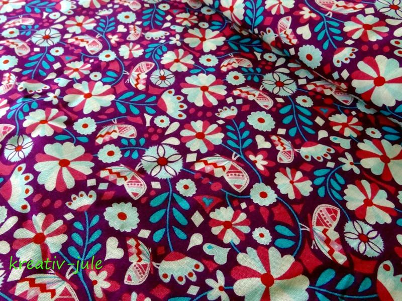 Baumwolle Blumen Butter Bloom by Jolijou lila - 1