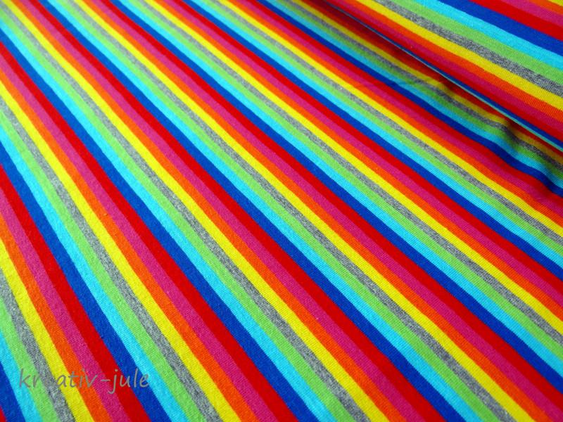 Streifenjersey bunt Ringeljersey Regenbogen blau