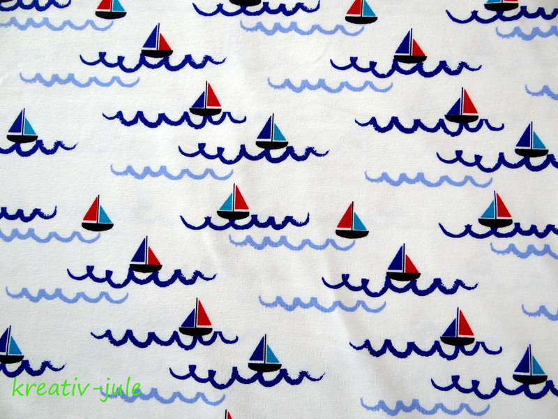 Jersey maritim Schiffe Boote weiss blau rot