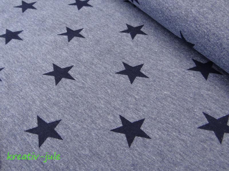 Sweat Sweatshirt Sterne blau marine meliert - 1
