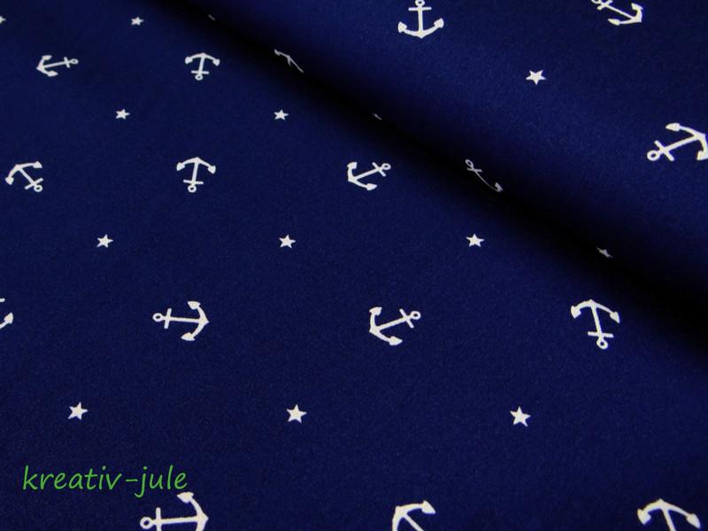 Baumwolle dunkelblau Anker Stern Maritim marine