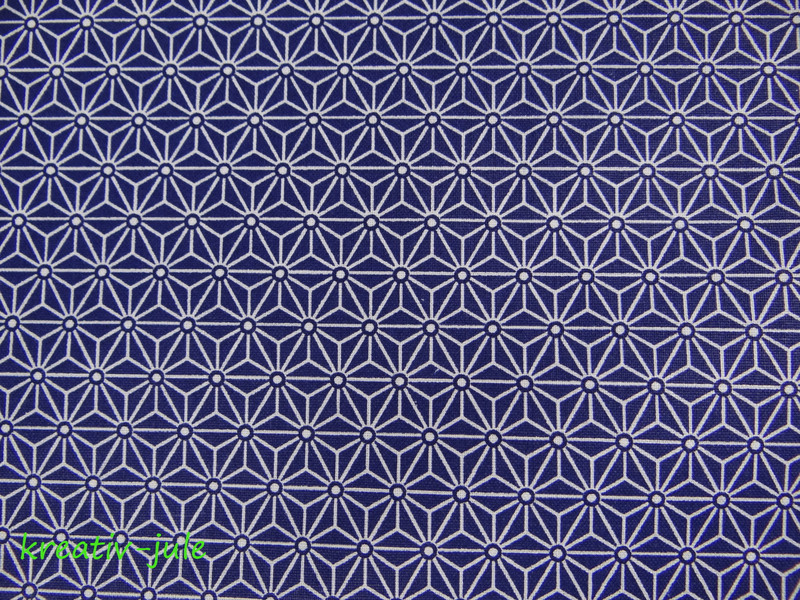 Baumwolle blau Stern Blume Ornamente weiß