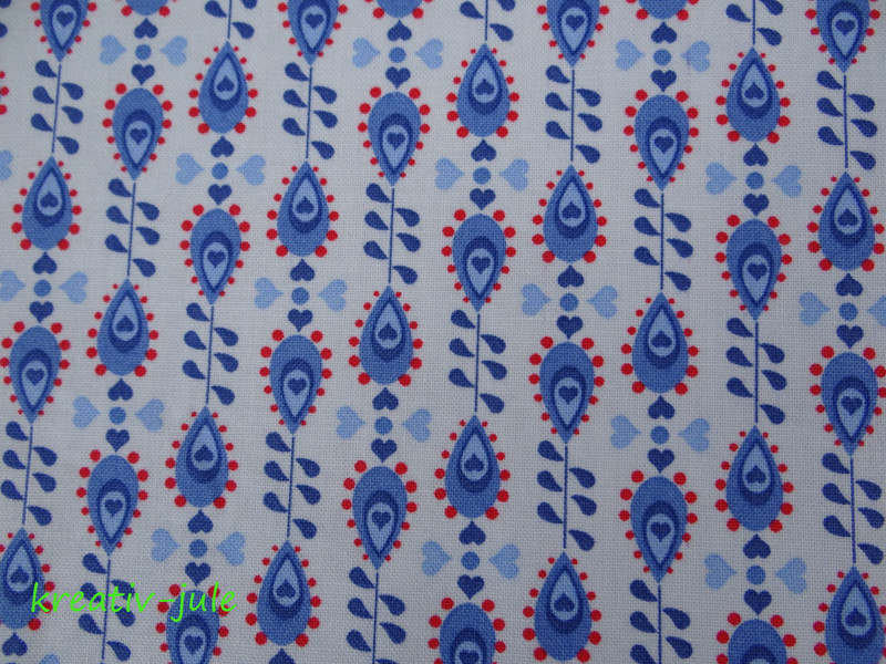 Baumwolle Julia Tropfen blau rot 2