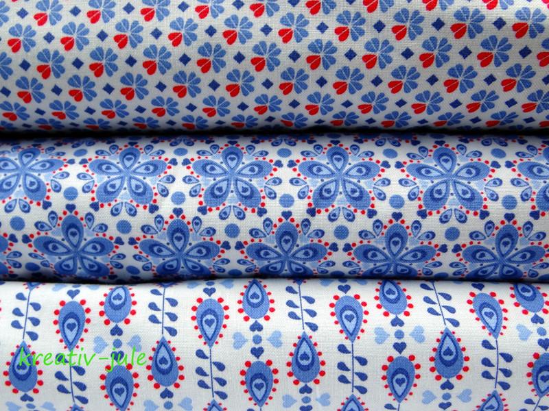 Baumwolle Julia Tropfen blau rot