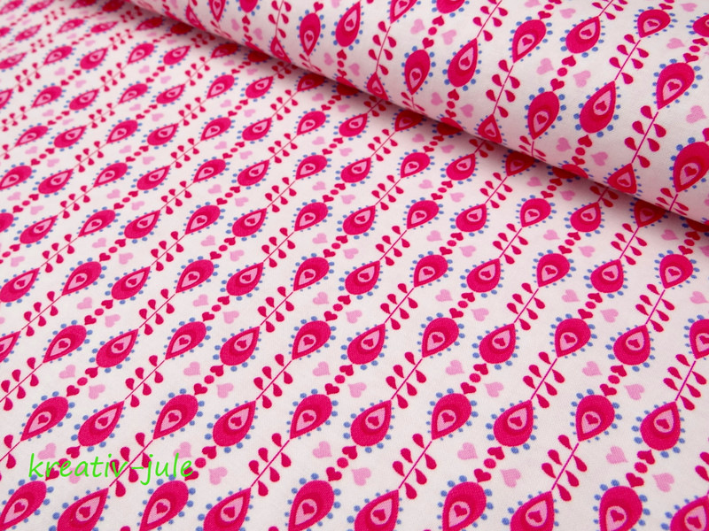 Baumwolle Julia Tropfen pink - 1