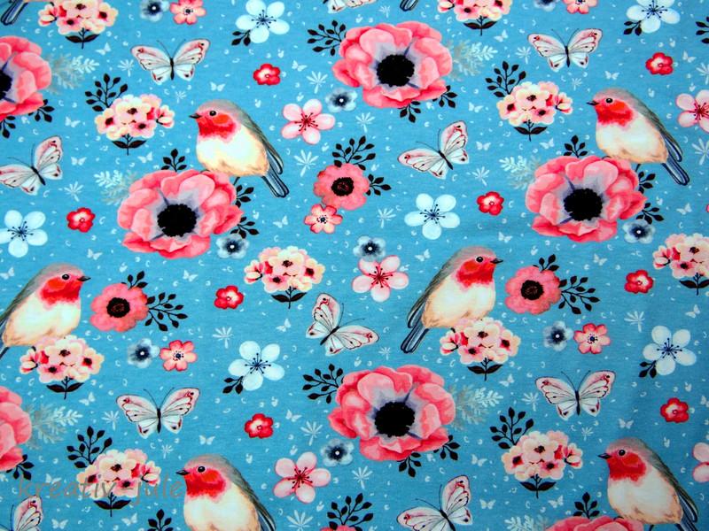 REST Jersey Rotkehlchen Blume blau print