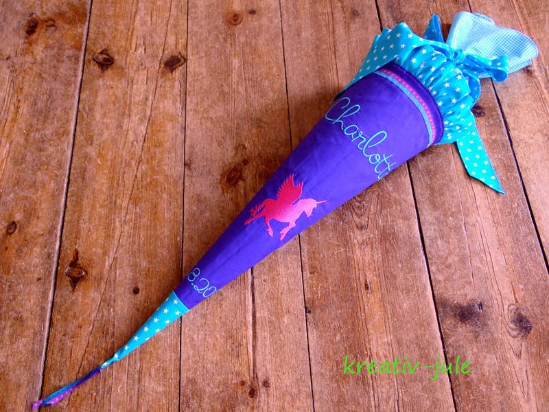 Schultüte Einhorn lila türkis Pegasus Zückertüte