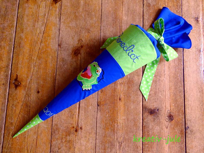 Schultüte Dinosaurier royalblau grün Stoff - 2
