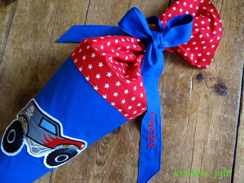 Schultüte Monstertruck Zuckertüte blau rot Sterne