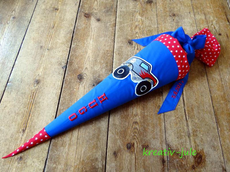 Schultüte Monstertruck Zuckertüte blau rot Sterne - 2