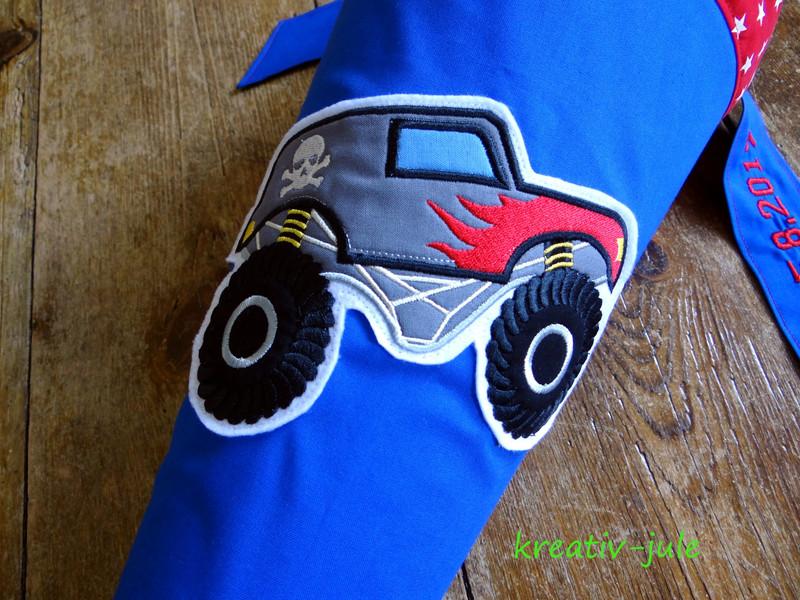 Schultüte Monstertruck Zuckertüte blau rot Sterne - 3