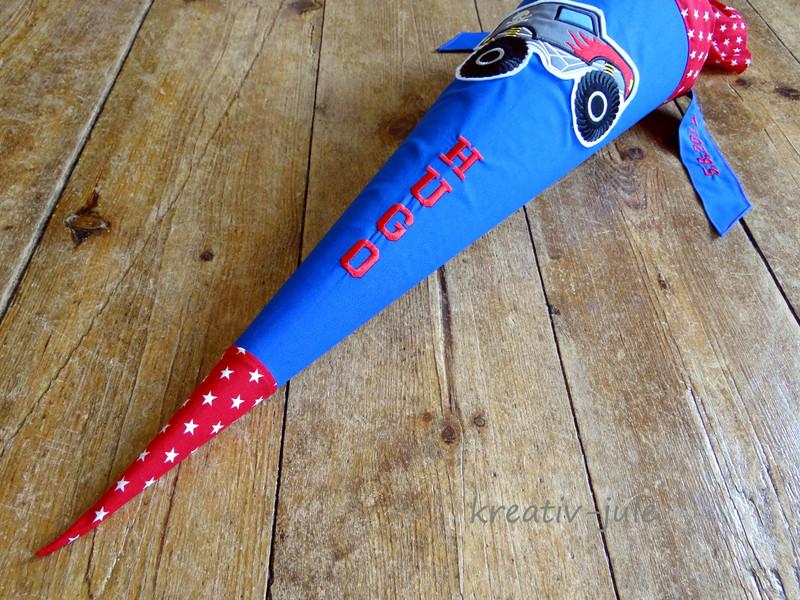 Schultüte Monstertruck Zuckertüte blau rot Sterne - 4