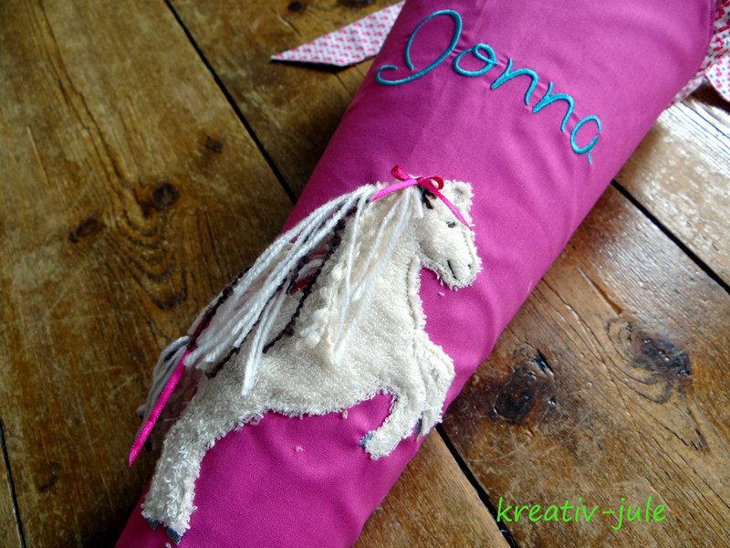 Schultüte Pferd pink rosa blau