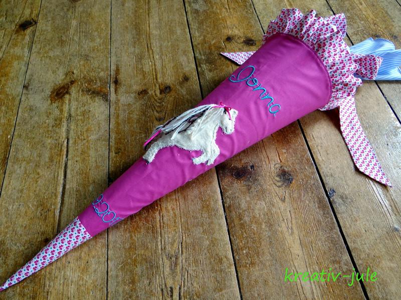 Schultüte Pferd pink rosa blau 2