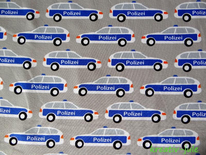 Baumwolljersey Auto Polizei Polizeiauto grau blau - 2