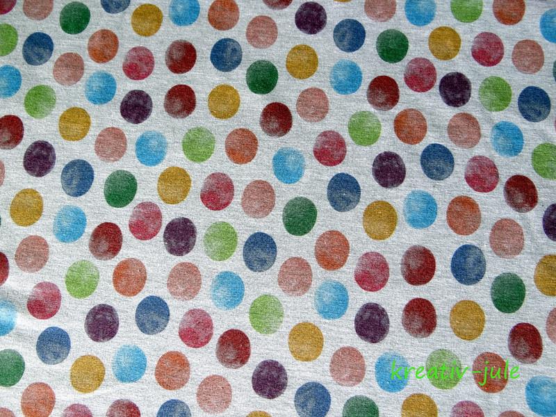 Sweat French Terry Aqua dots grau