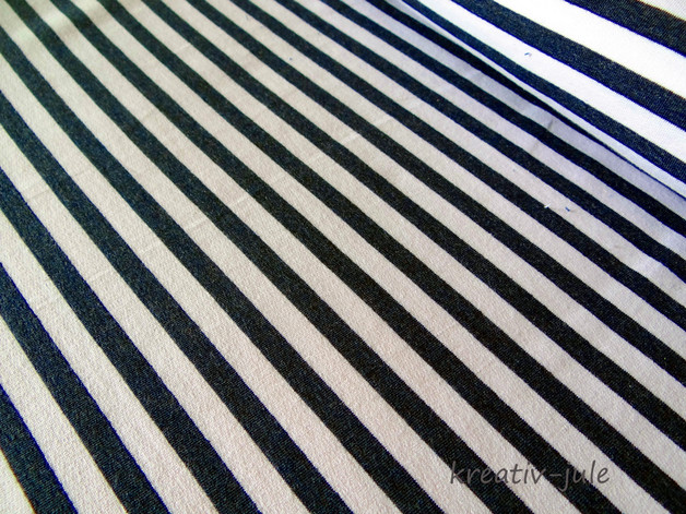 French Terry Sommerswet Streifen weiß graublau - 1