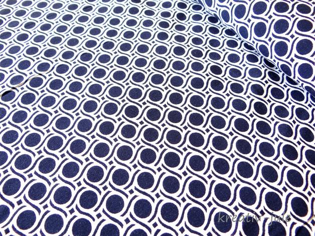 Viskose Blusenstoff dunkelblau Punkte Kreise